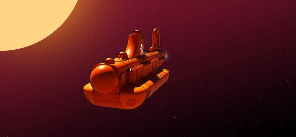 Orange Submarine in Space